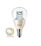 Philips dimtone Master LED kogel dimtone E14(kleine fitting) dimbaar van 3000K-2200K 4Watt (25W) 100° LED kogel_