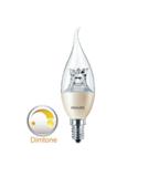 Philips dimtone Master LED kaars bended tip dimtone E14(kleine fitting) dimbaar van 3000K-2200K 6Watt (40W) 100° kaars bended tip _