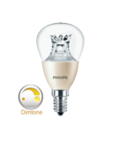 Philips dimtone Master LED kogel dimtone E14(kleine fitting) dimbaar van 3000K-2200K 6Watt (40W) 100° LED kogel _