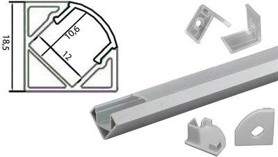 Tronix Flextape Channel Aluminium 2 meter clear cover 45° hoek ledstrip profiel