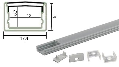 Tronix Flextape Channel flat Aluminium profiel 2 meter clear cover plat ledstrip profiel
