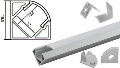 Tronix Flextape Channel Aluminium 2 meter frosted cover 45° hoek ledstrip profiel