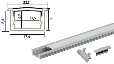 Tronix Flextape Channel Aluminium profiel 2 meter frosted cover inbouw ledstrip profiel
