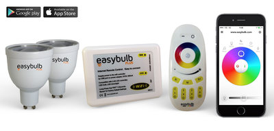 2 Easybulb GU10 RGBW Spotlight Bundle Wifi Box and Remote Control