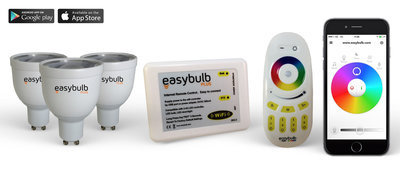 3 Easybulb GU10 RGBW WiFi LED spot Spotlight Bundle Wifi Box and Remote Control
