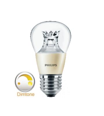 PHILIPS DIMTONE MASTER LED LAMP kogel  4W (25W) dimbaar van 2200K/3000K helder E27 (grote fitting)  warm wit