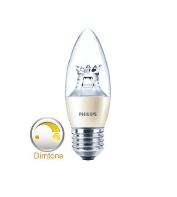 Philips dimtone Master LED kaars dimtone E27(Grote fitting) dimbaar van 3000K-2200K 6Watt (40W) 100°
