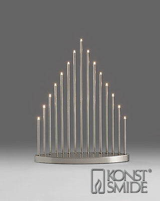 Konstsmide LED Metalen Staaf Kandelaar Geborsteld Staal met Schakelaar Kerst Verlichting