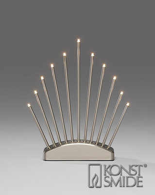 Konstsmide LED Kandelaar Geborsteld Metaal met Schakelaar 11 Warm Witte LED Kerst Verlichting