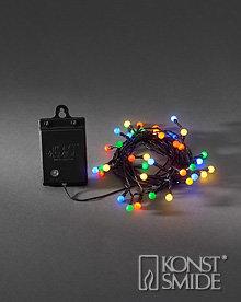 Kersen Licht Set met 40 Gekleurde LEDs Zwarte Kabel Timer en Schemersensor op Batterijen IP44