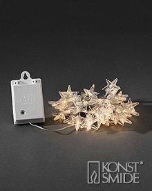 Sterren Licht Set met 40 warm witte LEDs Transparante Kabel met Timer en Schemersensor op Batterijen IP44