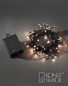 Konstsmide Licht Set 80 Warm Witte LEDs Zwarte Kabel met Timer en Schemersensor op Batterijen IP44
