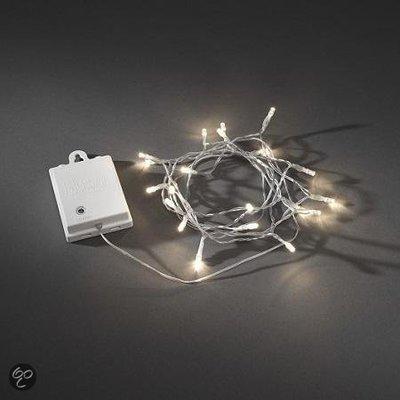 Konstsmide Licht set met 20 Warm Witte LEDs Transparant Snoer met Timer en Schemersensor op Batterijen IP44
