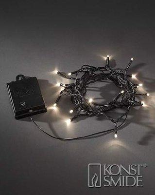 Konstsmide Licht set met 20 Warm Witte LEDs Zwart Snoer met Timer en Schemersensor op Batterijen IP44