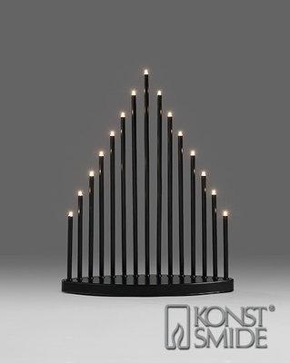 Konstsmide LED Metalen Staaf Kandelaar Zwart Gelakt met Schakelaar Kerst Verlichting