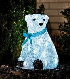 Acryl ijsbeer Zittend met Blauwe strik