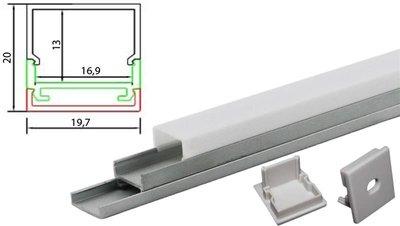 Tronix Flextape Channel opbouw Aluminium profiel  2 meter frosted cover square