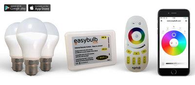 3 Easybulb RGBW 6W WiFi LED lamp - 1 Wifi Box - 1 RGB Remote   2 Years Warranty