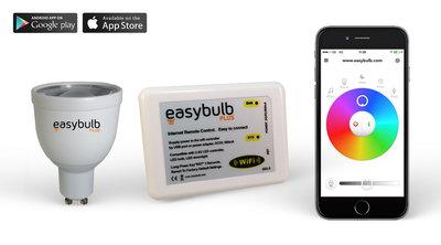 1 Easybulb GU10 RGBW WiFi LED spot Spotlight Bundle With Wifi Box Controller