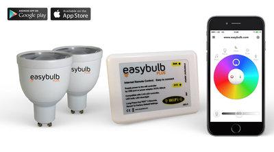2 Easybulb GU10 RGBW WiFi LED spot Spotlight Bundle With Wifi Box Controller