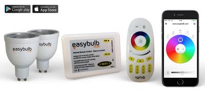 2 Easybulb GU10 RGBW Spotlight Bundle Wifi Box and Remote Control