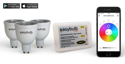 3 Easybulb GU10 RGBW WiFi LED spot Spotlight Bundle With Wifi Box Controller