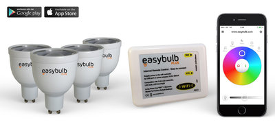 4 Easybulb GU10 RGBW WiFi LED spot Spotlight Bundle With Wifi Box Controller