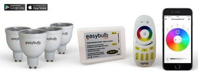 4 Easybulb GU10 RGBW WiFi LED lamp Spotlight Bundle Wifi Box and Remote Control