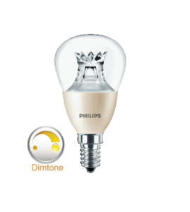 Philips dimtone Master LED kogel dimtone E14(kleine fitting) dimbaar van 3000K-2200K 6Watt (40W) 100° LED kogel